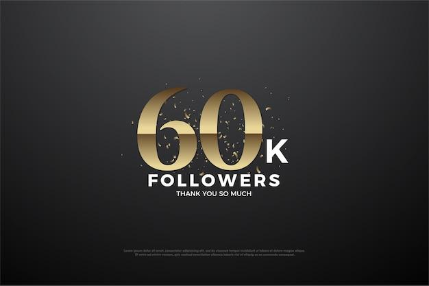 Obrigado pelos 60 mil seguidores com números e borrifos de areia dourada ao redor.