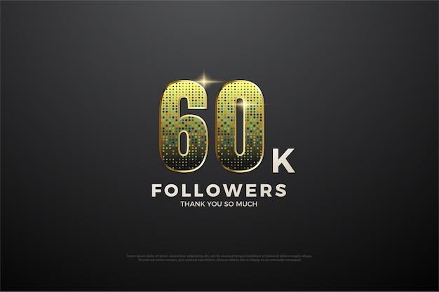 Obrigado pelos 60k seguidores com figura de glitter dourados.