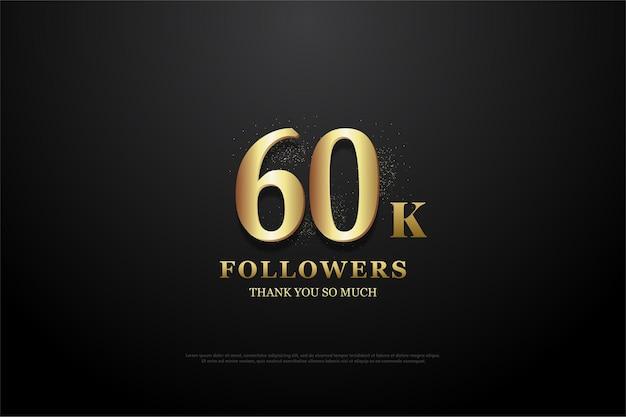 Obrigado pelos 60k seguidores com números dourados iluminados.