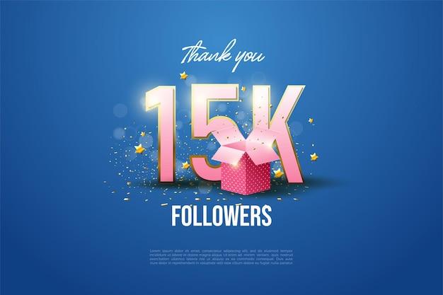 Obrigado por 15 mil seguidores com números listrados de ouro e caixas de presente na frente.
