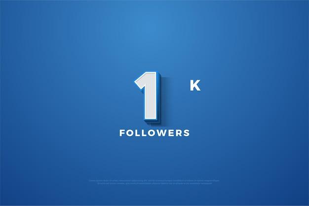 Obrigado por 1k seguidor, com uma figura tridimensional ligeiramente sombreada.