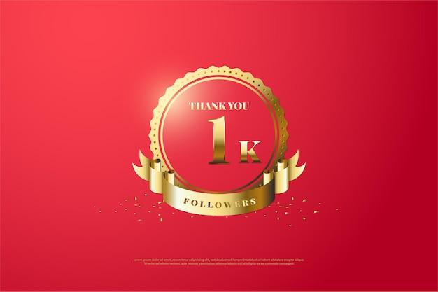 Obrigado por 1k seguidores com número em símbolos e fitas douradas.