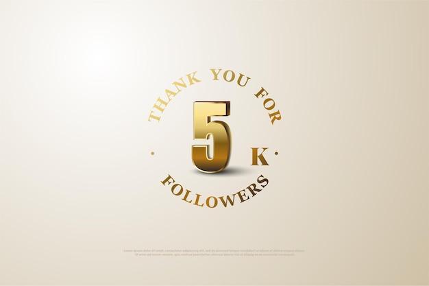 Obrigado por 5k seguidores com números e letras dourados.