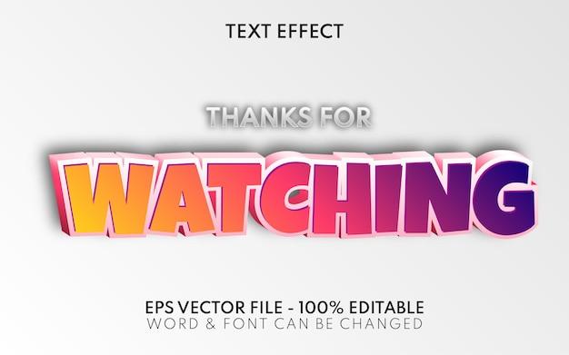 Obrigado por assistir o efeito de texto estilo desenho animado efeito de texto editável