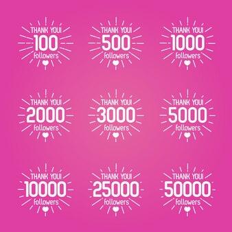 Obrigado por seguidores isolado rótulo branco conjunto com sunburst em fundo rosa. ilustração.