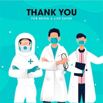 Obrigado por ser uma equipe de médicos salva-vidas para combater o coronavírus (covid-19).