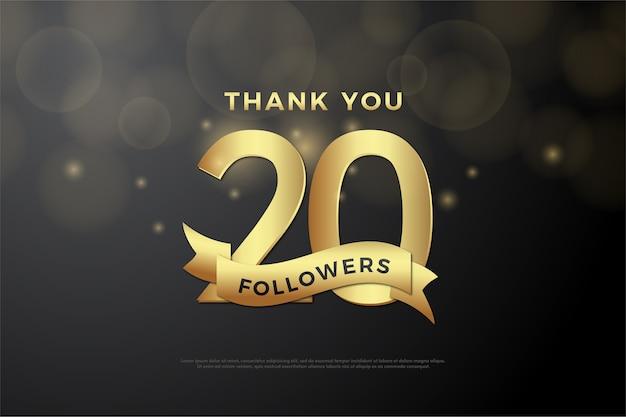 Obrigado por vinte mil seguidores em fundo preto