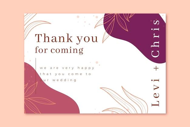 Obrigado por vir ao nosso modelo de cartão de casamento