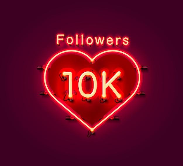 Obrigado, povos seguidores, grupo social on-line de 10k, letreiro de néon
