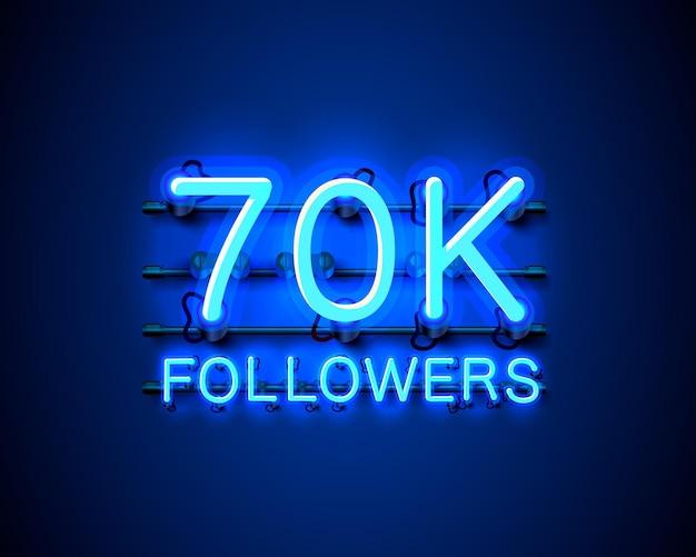 Obrigado povos seguidores, grupo social online de 70k, letreiro de néon