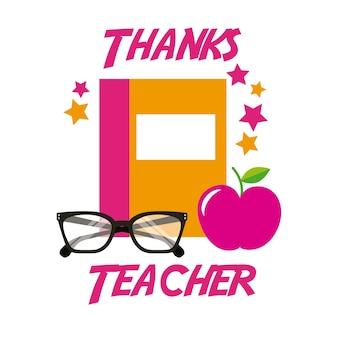 Obrigado professor card livro maçã óculos