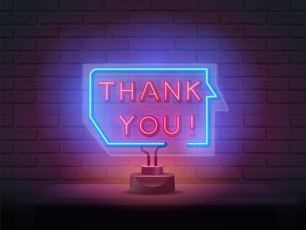 Obrigado quadro indicador de néon. sinal de agradecimento neon retro