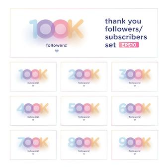 Obrigado seguidor conjunto com fundo colorido