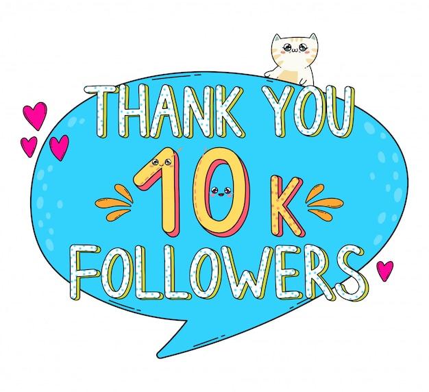 Obrigado seguidores 10k no estilo do japão kawaii