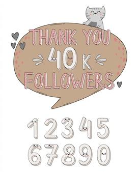 Obrigado seguidores conjunto de números no japão estilo kawaii