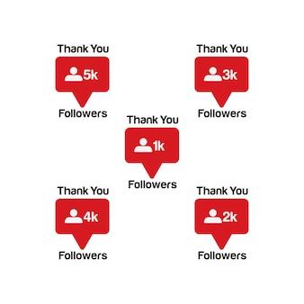 Obrigado seguidores. novo ícone de notificação de contador instagram.