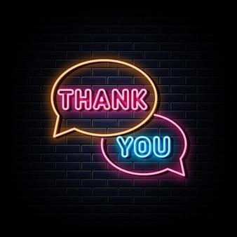 Obrigado sinal de néon elemento de design banner de luz anúncio letreiro de néon
