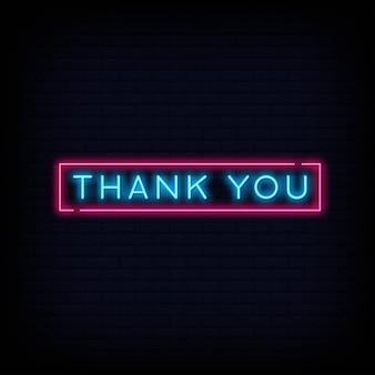 Obrigado sinal de texto de néon. cartaz de luz banner.