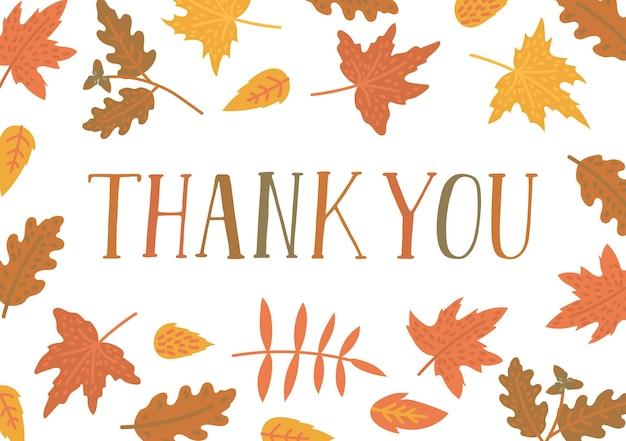 Obrigado. texto escrito à mão com moldura de folhas de outono.