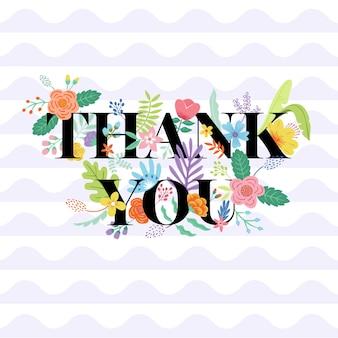 Obrigado tipografia floral