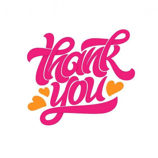 Obrigado tipografia. logotipo de letras manuscritas com corações em fundo branco. inscrição de cartão postal, banner, convite, cartão de felicitações. ilustração com tipografia.