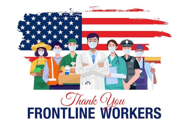 Obrigado trabalhadores da linha de frente. várias ocupações pessoas em pé com a bandeira americana. vetor