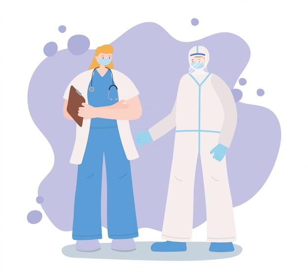 Obrigado trabalhadores essenciais, equipe médica com traje de proteção, vestindo máscaras, ilustração de doença de coronavírus