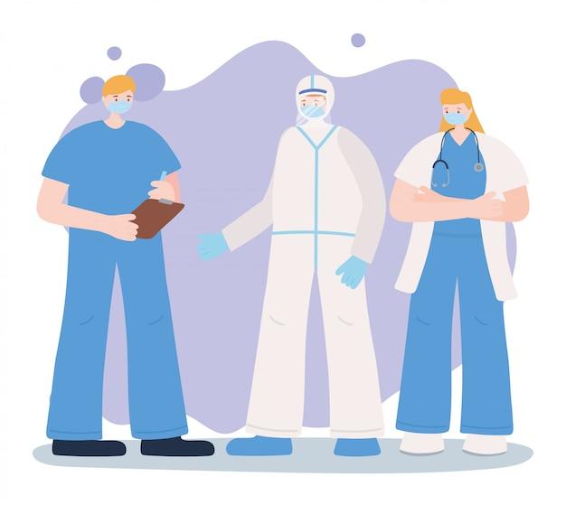 Obrigado trabalhadores essenciais, grupo de equipe médica com uniforme, usando máscaras, ilustração de doença de coronavírus