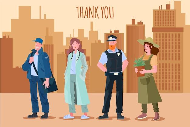 Obrigado trabalhadores essenciais ilustrados