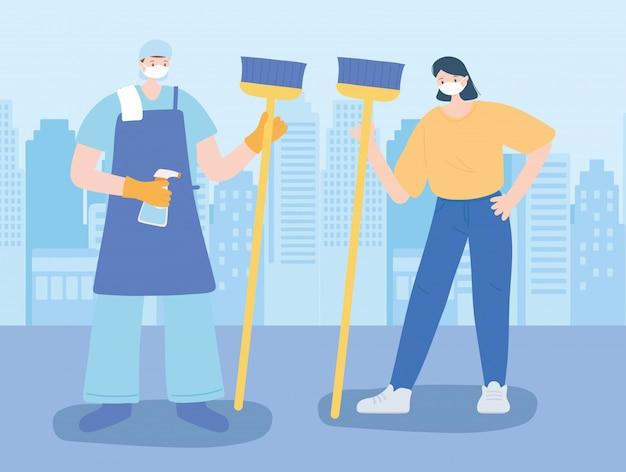 Obrigado trabalhadores essenciais, limpador homem e mulher com vassoura, vestindo máscaras, ilustração de doença de coronavírus