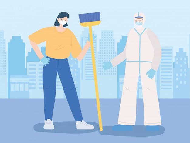 Obrigado trabalhadores essenciais, mulher mais limpa com vassoura e médico com traje de proteção, vestindo máscaras, ilustração de doença de coronavírus