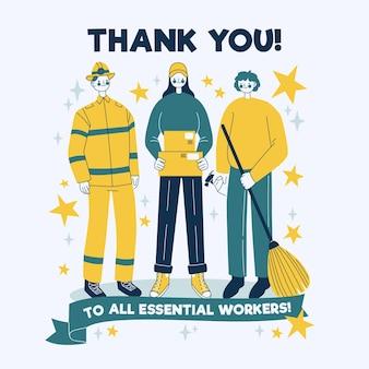 Obrigado trabalhadores essenciais