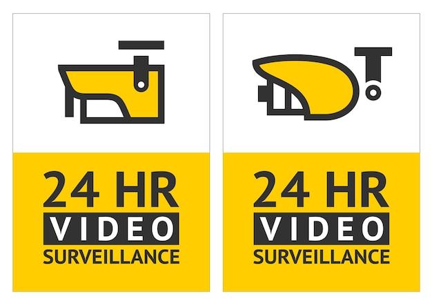 Observe o símbolo de vigilância por vídeo, adesivo