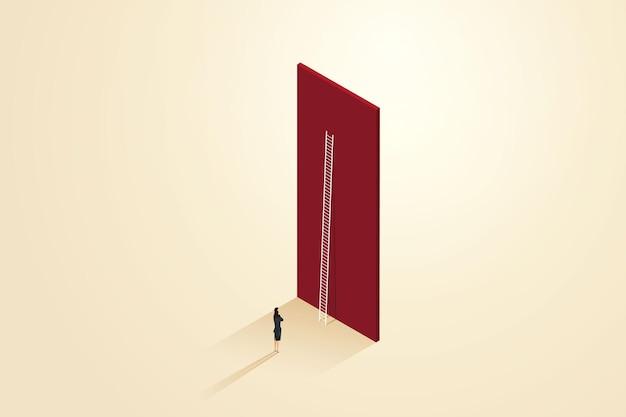 Obstáculos ao crescimento da carreira de uma mulher de negócios que não consegue atravessar o muro