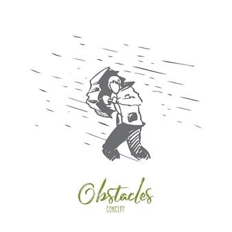 Obstáculos, dificuldades, conceito de problemas. mão desenhada homem com guarda-chuva e chuva como símbolo do esboço do conceito de dificuldades.