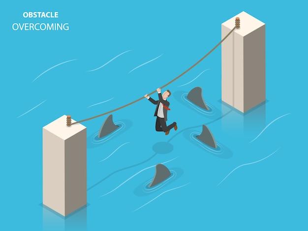 Obstáculos superando ilustração isométrica plana.