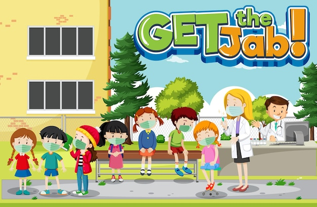 Obtenha a fonte jab com muitas crianças esperando na fila para receber a vacina covid-19