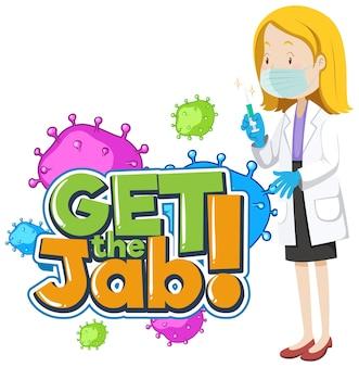 Obtenha a fonte jab com uma personagem de desenho animado médica
