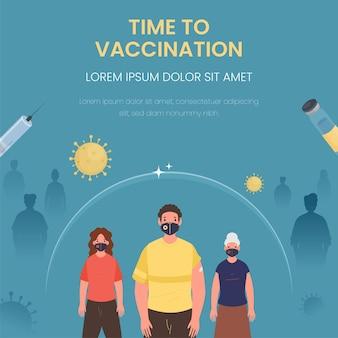 Obtenha design de cartaz de vacinação com desenhos animados. pessoas usam máscaras de proteção em azul