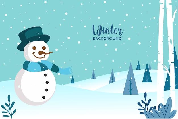 Obtenha este tema de inverno de recursos de design plano com os adoráveis personagens do boneco de neve