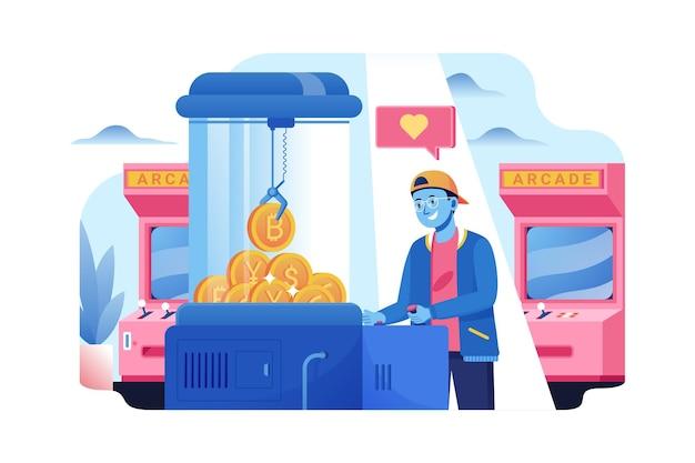 Obtenha moedas bitcoin do conceito de ilustração de jogo de máquina de garra de arcade