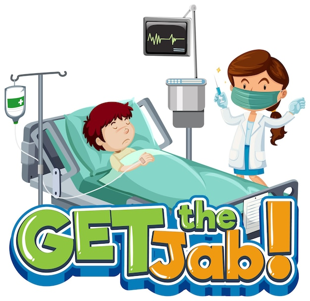 Obtenha o banner de fonte jab com o personagem de desenho animado do paciente e do médico