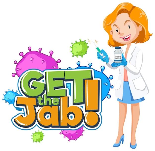 Obtenha o banner de fonte jab com uma personagem de desenho animado médica