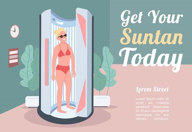 Obtenha seu modelo de banner para bronzear hoje. brochura, conceito de cartaz com personagens de desenhos animados. mulher de bronzeamento na espreguiçadeira. folheto horizontal de banho de sol artificial, folheto com lugar para texto
