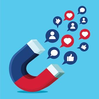 Obter mais gostos e seguidores seo conceito com ímã e ícones