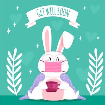 Obter melhoras em breve cotação e coelho vestindo máscara