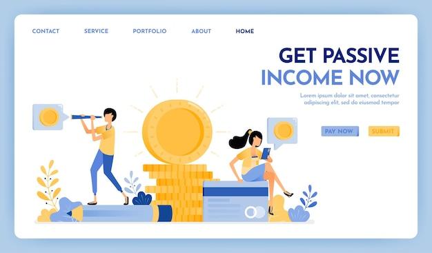 Obter renda passiva agora página de destino