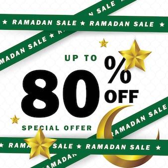 Ocasião de banner do ramadã com fitas