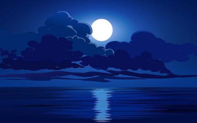 Oceano à noite, lua e nuvens