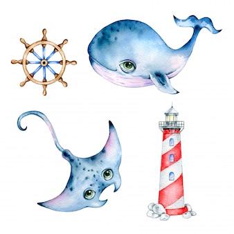Oceano bonito dos desenhos animados em aquarela em um fundo branco. baleia em aquarela de desenhos animados, arraia, farol, roda do navio